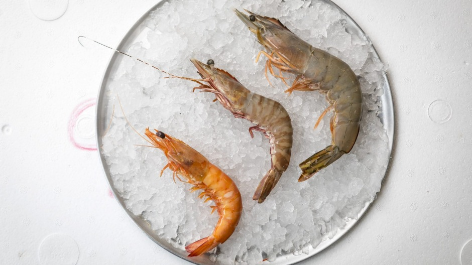 From left: Cooked king prawn, raw tiger prawn and raw banana prawn from Gazza's Gourmet Seafood at Queen Victoria Market ...