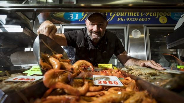 Gary Rapley from Gazza's Gourmet Seafood at Queen Victoria Market, Melbourne.