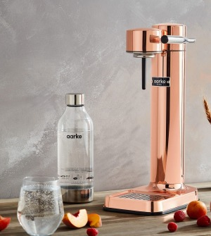 Sparkle and shine: The Aarke Sparkling Water Maker in Copper.