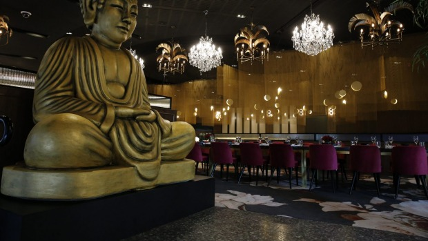 A giant Buddha greets diners at Chu in Rooty Hill.