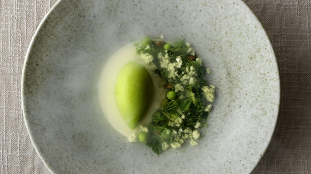 Sweet pea sorbet, buttermilk and pine oil.