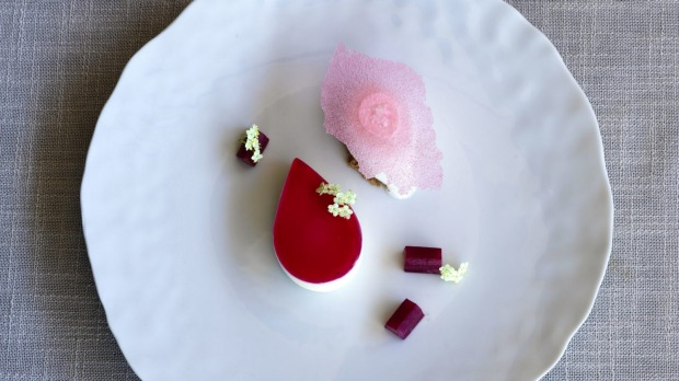 The tuckshop jelly slice done over with goat's cheese and rhubarb jelly.