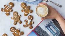 Gingerbread people rugged-up in scarves for wintry New York weather.