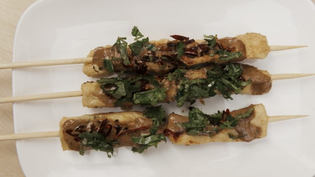 Tofu skewers were inspired by Taiwanese stinky tofu.
