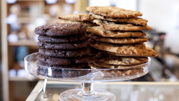 Rye and salted chocolate cookies and salted caramel cookies at Leeds Street Bakery.