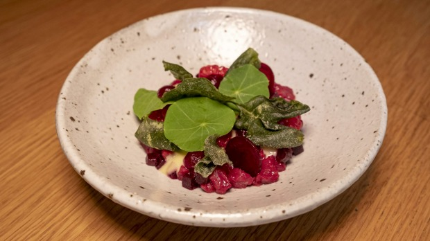 Pademelon tartare with, raspberry, beetroot and smoked oyster.