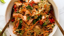 Asian glazed salmon noodle salad.