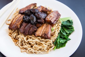 Mie babi samcan - handmade noodles with triple-cooked pork belly - at Pondok Bamboe Koening Indonesian restaurant.