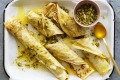 Baklava-ish honey and pistachio filled crepes.