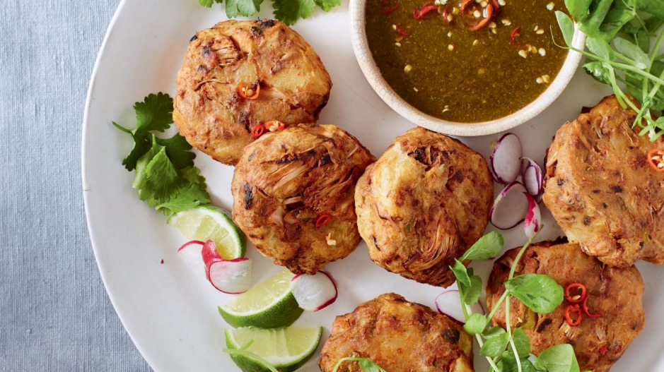 Jackfruit stands in for fish in these Thai no-fishcakes.