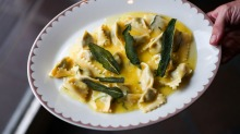 Agnolotti of pork, veal and rabbit in sage butter.