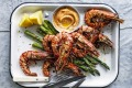 Barbecued prawns and asparagus with lemon pepper mayonnaise.