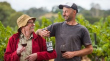 Pennyweight winemaker Stephen Morris with his son in their vineyards in Beechworth.