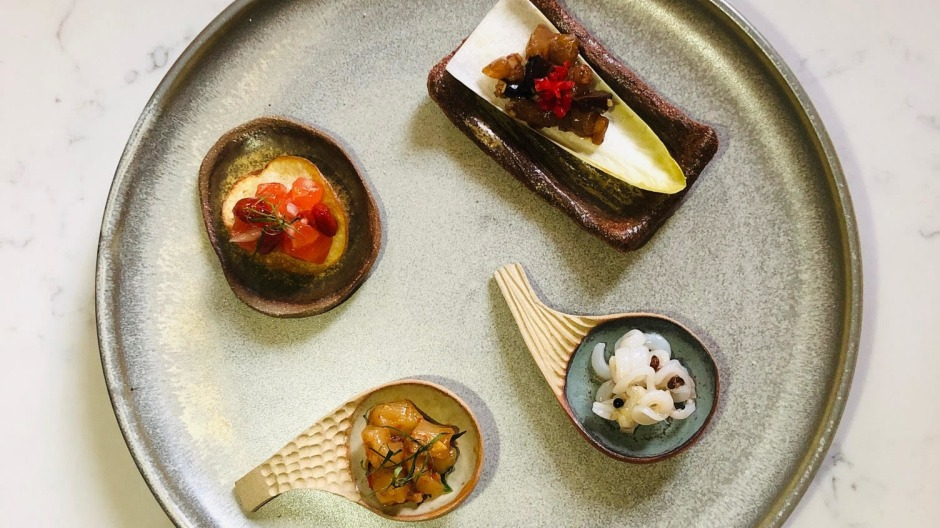 Clockwise from top right: Snapper, shiitake, red chilli, first press soy, witlof; Sichuan pepper squid; king prawns, ...