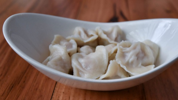 The dumplings can also be steamed (pictured).