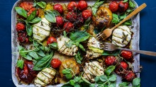 Bundles of joy: Zucchini cheese parcels with tomatoes and fresh herbs.
