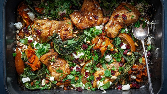 Chickenshawarmabake with sweet potato, feta and cranberries.