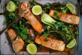 Miso and ginger salmon traybake.