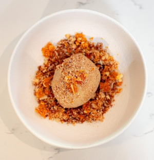 Ginger ice-cream with coffee liqueur and hazelnut.