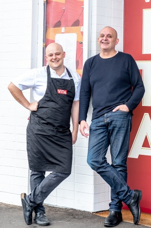 Head chef Nathaniel Destefano (left) and Simon Hartley outside Vita in Kew.