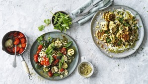 Hetty McKinnon's confit tomato (left) and charred cauliflower salads (recipes below).