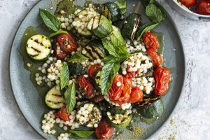 Grilled zucchini salad with cous cous and cherry tomato confit.