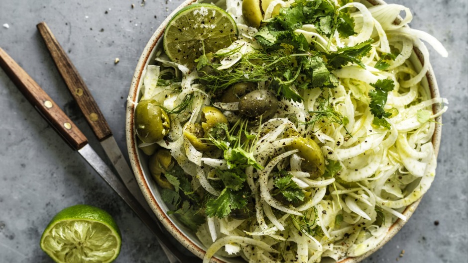 Simple fennel salad with olives and lime.