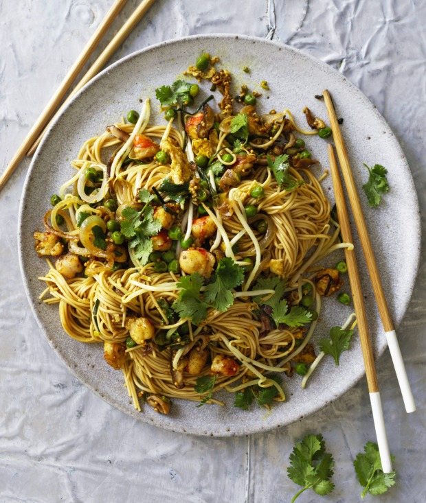 Karen Martini's noodles with curried prawn and egg.