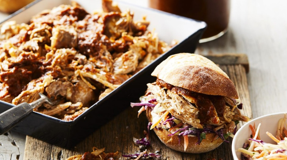 Slow-braised pulled pork with home-made smoky barbecue sauce.