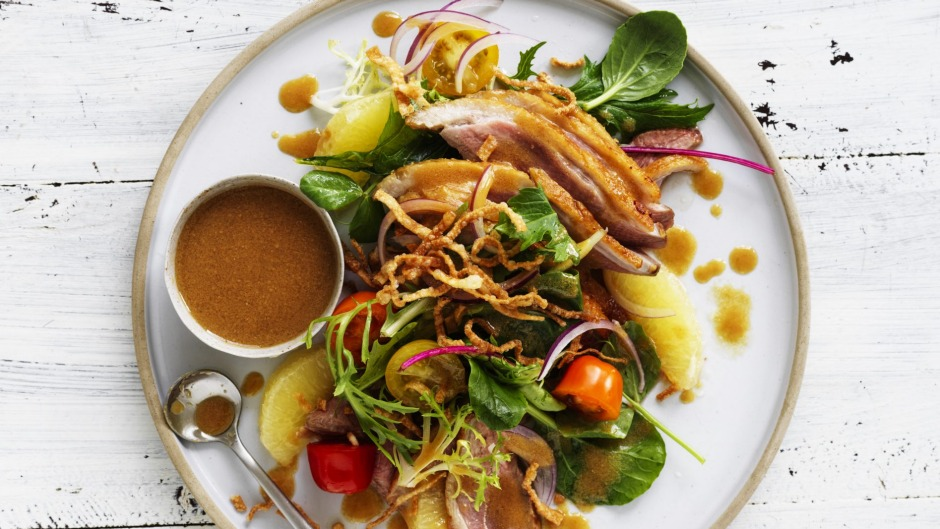 Duck and grapefruit salad with honey-miso dressing and crispy wontons.