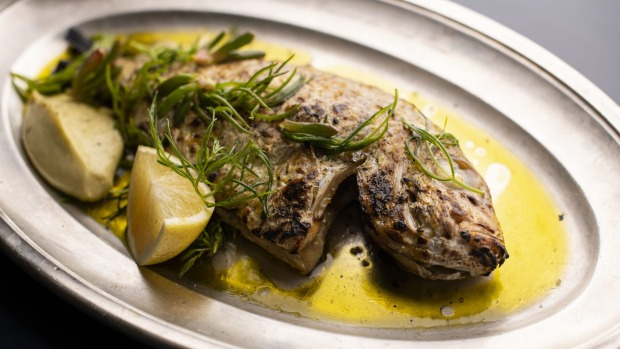 Whole fish with sea herbs.