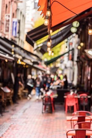 Al fresco dining is the way of the future, such as along Hardware Lane in the CBD.