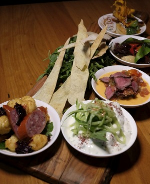 The chef's tasting plate showcases native Australian ingredients.