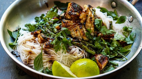 Black Pepper And Lime Squid Stir Fry With Runner Beans And Rice Noodles Recipe Good Food