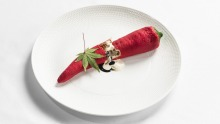 It may look like a chilli, but it's a dessert featuring white chocolate, cashew nut praline and cardamom sago pearls.