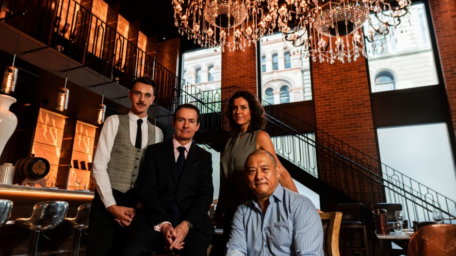 From left: Maitre d' David Searl, sommelier John Clancy, events manager Kim Daniela Antunovic and owner Dah Lee.