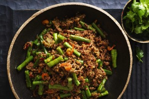 Stir-fried beef with snake beans.