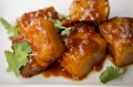 Miso-braised pork belly cubes.