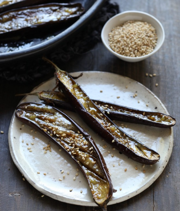 Baked eggplant with miso and sesame.