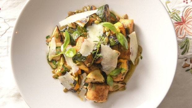 Potato gnocchi with charred zucchini and squash.