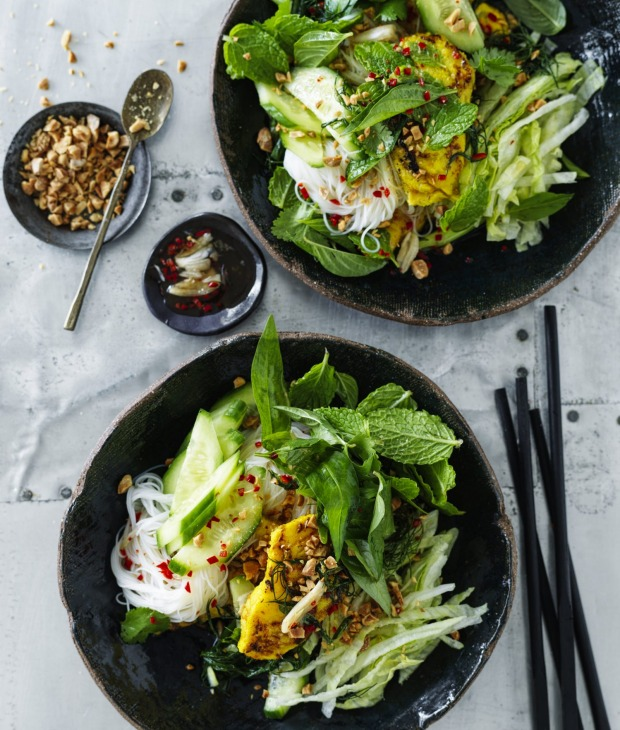 Picnic-friendly noodle salad with nuoc cham dressing.