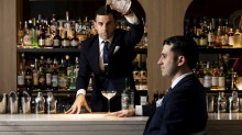 Agostino Perrone and Giorgio Bargiani of London's Connaught Bar are in Australia to give lessons on making martinis.