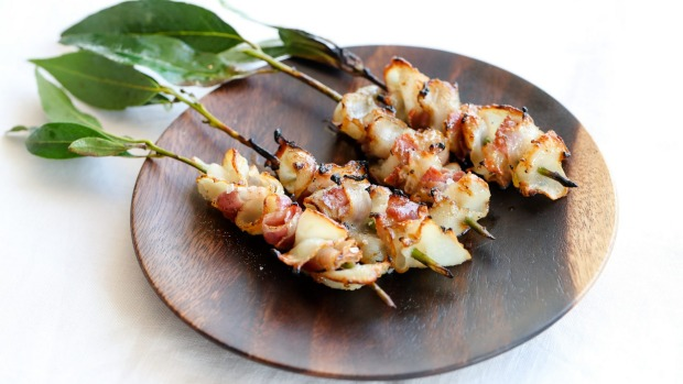 Barbecued black-lip abalone skewers with pancetta at Mimi's.