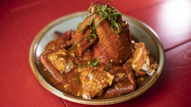 GOOD FOOD: Chinta Ria Buddha Love, 14 Nicole Walk, Darling Square, Haymarket. Siungapore Chilli crab. 20th February 2020, Photo: Wolter Peeters