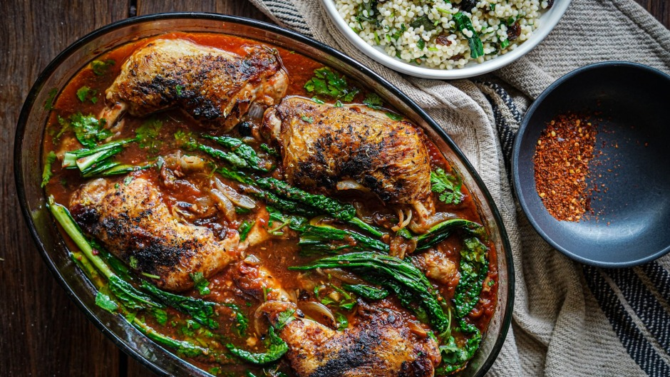 Syrian-style baked chicken with cous cous.