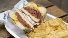 Must-try dish: The hot salt beef bagel with dill pickles and mustard is a tender meat dream.