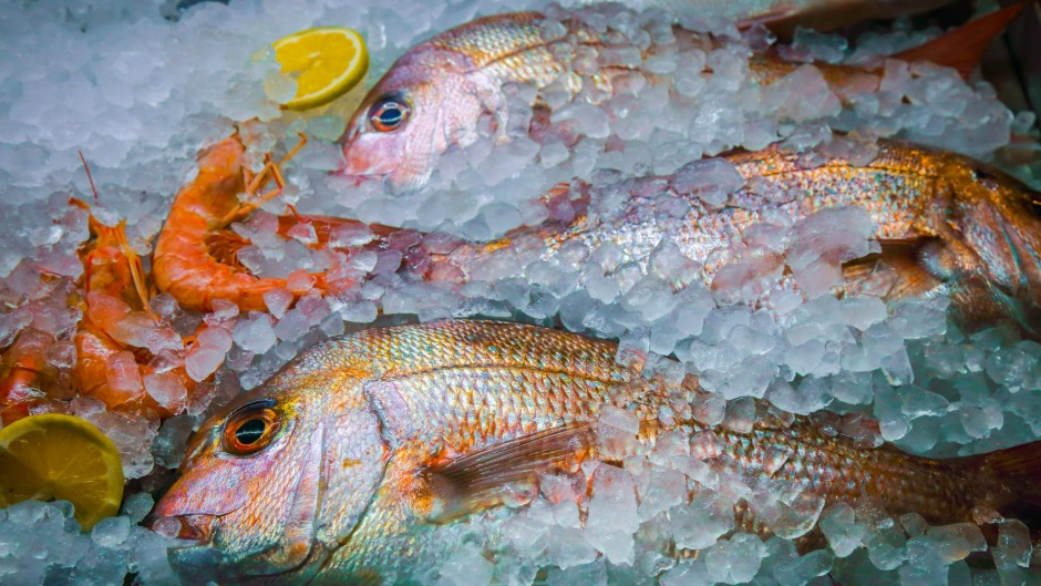 Freezing fish causes ice crystals to form in the flesh, which breaks down the cell walls.