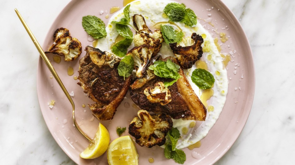 Lamb loin chops with deep-fried or roasted cauliflower, and garlic and lemon yoghurt.