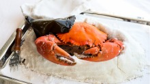 Nice if you can afford it: Salt-baked mud crab comes in at $180 a kilogram.