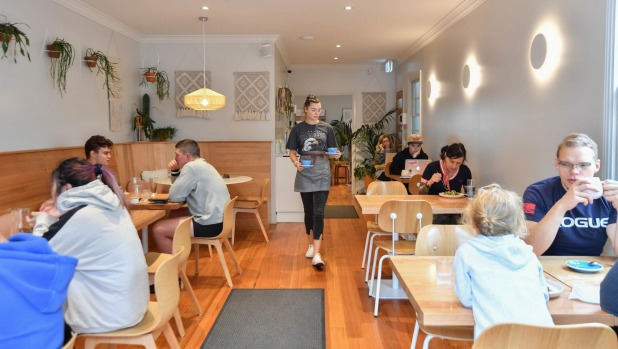Maria cafe in Upwey features pale timber seating and plenty of fresh greenery.